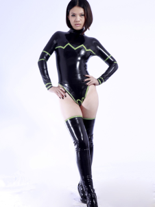 Latex Catsuit Sexy One Piece mulheres negras Halloween