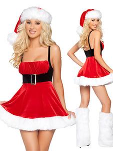 Disfraz Carnaval Navidad Sexy Mini vestido de la mujer de terciopelo rojo Carnaval