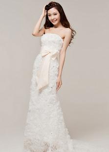 Белой оплетке без бретелек цветочный лук органзы свадебное платье для невесты