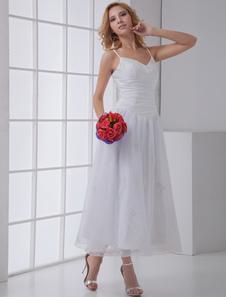 فستان زفاف رائع، على شكل حرف (أيه)، برقبة حرف (في)