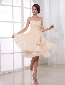 Шампанское колен шифон Ruched Homecoming платье с Онлайн возлюбленной шеи