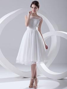 Abito da Sposa in Chiffon 2020 Bianco Semplice Abito da Sposa Illusion
