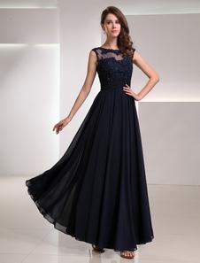 Renda da Marinha escuro vestido Chiffon com pescoço de ilusão Vestidos de Convidados para Casamento