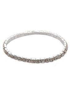 Шикарный сжатой серебро Rhinestone металлический браслет для новобрачных