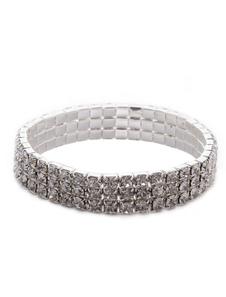 Chique prata strass casamento pulseira 3 linhas
