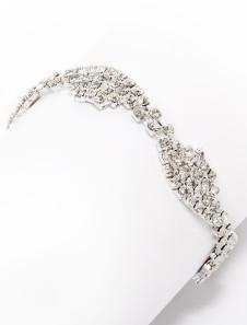 Шикарный Серебряный браслет металла свадьба лук горный хрусталь