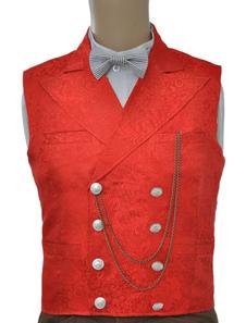 Colete vintage Steampunk Double-Breasted terno colete bolso corrente do relógio vermelho masculino volta cinta do Jacquard traje retrô Halloween