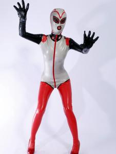 Macacão de látex exclusivo multi-color feminino Halloween