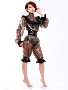 Roupas de látex único laço trabalho feminino Halloween