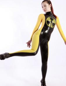 Macacão de látex bloqueio do Zipper feminina de cor Halloween