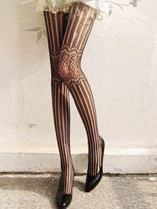 Nero collant con strisce Jacquard in Nylon donna