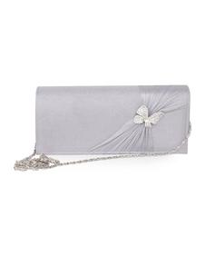 Cinzento doce borboleta decoração seda embreagem saco para mulher