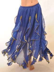 Элегантный синий шифон Ruffles танец живота длинная юбка