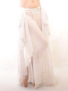 Traje de vestido plissado de dança do ventre branco para mulheres