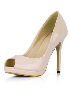Мода сжатой обнаженной цвета лакированная кожа женщин Peep Toe насосы