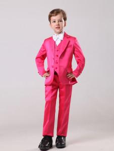 Vestidos de boda para niños de satén satinado de color rosa con pantalones de largo medio