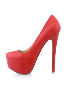 المرأة عالية الكعب منصة الحمراء بو الجلود سبايك الكعوب الانزلاق على مضخات