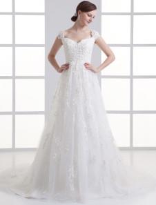 Кот-линии v-образным вырезом вне плечу аппликация тюль свадебное платье
