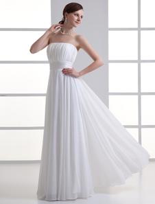 Vestido de boda marfil de gasa sin tirantes estilo de cremallera