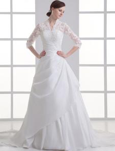 أنيقة الأبيض الخامس الرقبة الدانتيل التفتا ثوب الزفاف للعروس