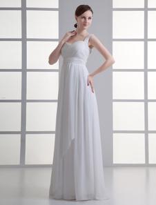 Vestido de novia  de gasa de color marfil de estilo elegante