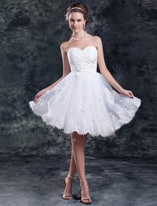 Abito da sposa bianco organza collo a cuore a-linea corto/mini