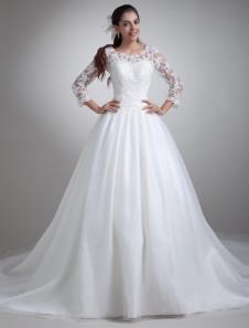 جميلة الأبيض جوهرة الرقبة فستان الزفاف للعروس