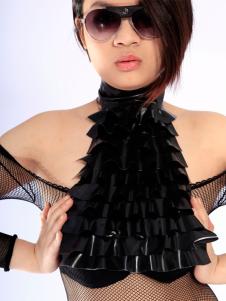 Sexy Net preto látex exclusivo acessório de látex unissex espartilho em camadas de babados Halloween
