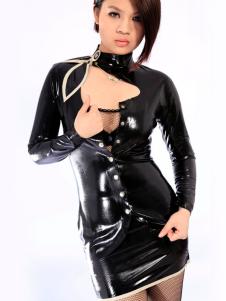 Exclusivo vestido de látex Sexy Unisex preto Halloween