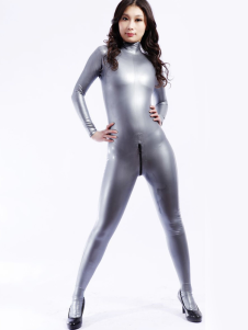 Única cinza unissex Bodysuit Latex Catsuit Halloween