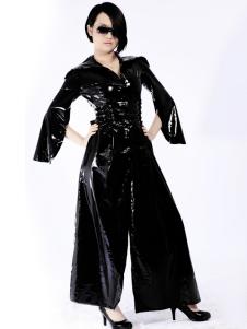 Cool preto Unisex Split frente rendas até macacão de látex Halloween