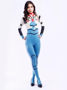 Azul moderno Multi cor Unisex Bodysuit Latex Catsuit Halloween