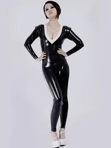Gola v preta quente Unisex Bodysuit Latex Catsuit Halloween