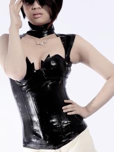 Sexy Unisex preto moldar na moda Top látex Halloween