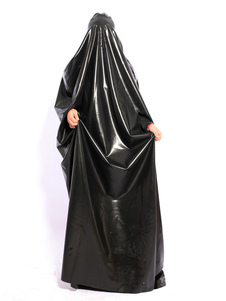 Elegante manto de látex preto Unisex Halloween