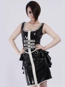 Impresso exclusivo vestido de látex preto Unisex Halloween