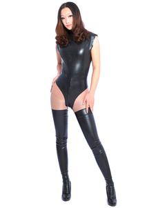 Bodysuit de látex unissex preto Halloween