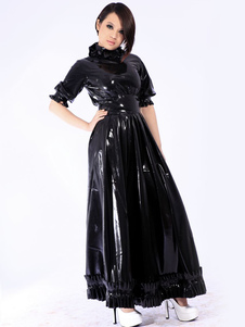 Vestido de látex unissex vintage preto manga curta Halloween