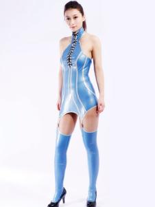 Disfraz Carnaval Conjunto de latex azul de dos piezas Halloween Carnaval