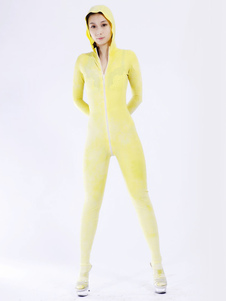 Conciso amarelo unissex Bodysuit Latex Catsuit Halloween