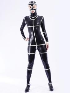 Popular preto Unisex Bodysuit Latex Catsuit