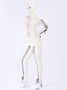 Disfraz Carnaval Catsuit de latex blanco Halloween Carnaval