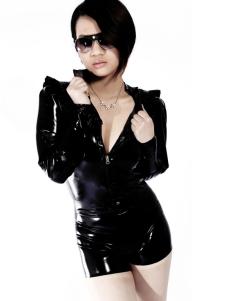 Modelagem Unisex preto brilho Latex Catsuit Halloween