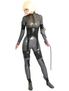 Moldar o macacão de látex de mulher guerreira Halloween