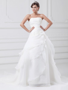 أبيض ألف خط حمالة الزهور تول فستان الزفاف للعروس