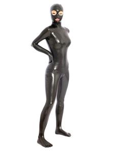 Disfraz Carnaval Catsuit de látex negro de estilo clásico Halloween Carnaval