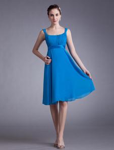 ミディアムドレス,オフショルダードレス シフォン カスケードフリル ひざ丈 ブルー