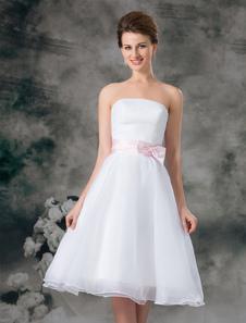 رومانسية بيضاء ألف خط حمالة القوس الأورجانزا فستان الزفاف الزفاف