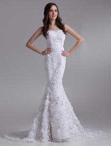 Красивые белые русалка без бретелек бисером кружева Люкс Свадебное платье