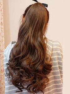 ملحقات طويل مجعد الشعر الاصطناعية براون الساحرة